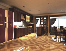 3d model spacious kitchen with refrigerator