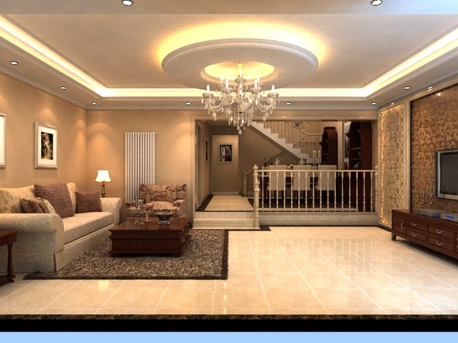 grand drawing room with floral rug 3d model max 1