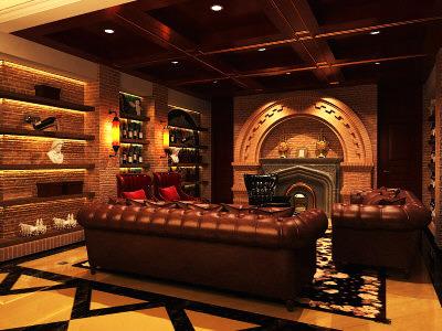 Eminent Living Room with Elite Decor3D model
