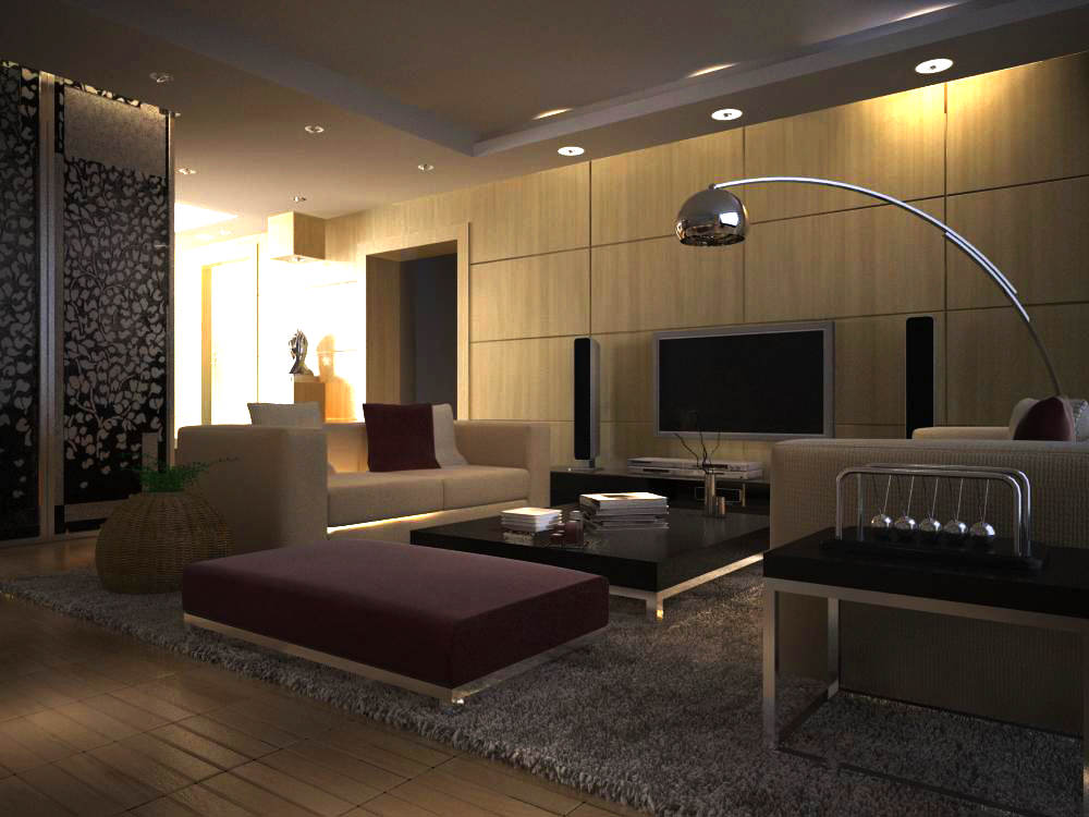 Eminent living room with elite home theater 3d model max - Living room home theater ...