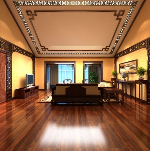 Drawing Room with Authentic Ceiling Decor3D model