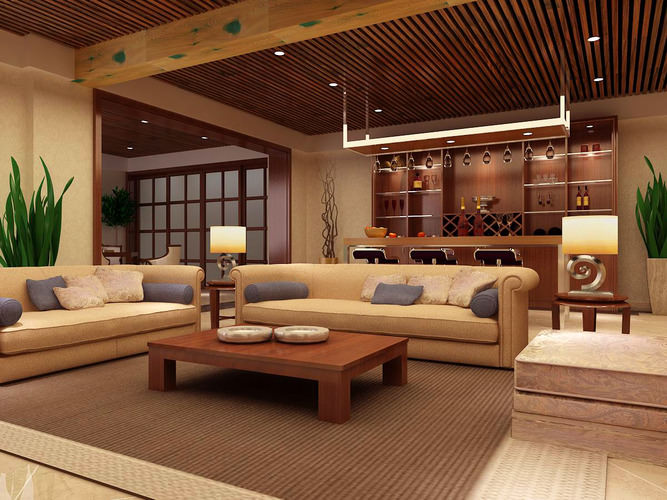Eminent Drawing Room with High-end Lamp3D model