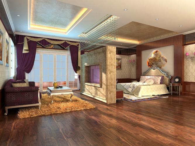 Luxury Bedroom Cum Living Room With Rug 3d Model Max