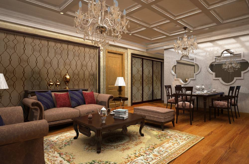 High End Living Room Cum Eminent Dining Room 3D Model Max