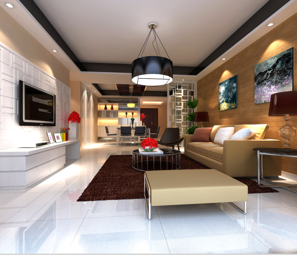 High End Living Room With Eminent Canvas 3D Model Max