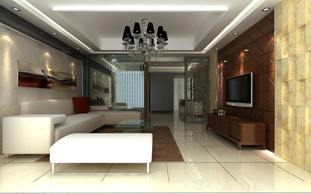High End Living Room With Eminent Wall Decor 3D Model MAX