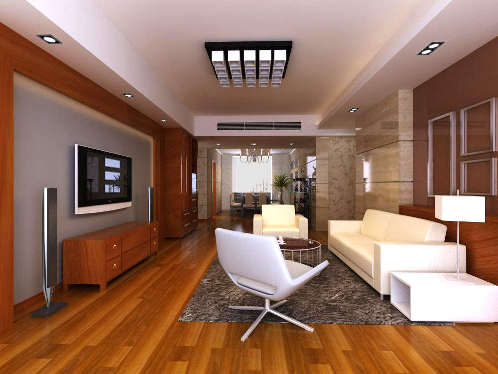 High End Living Room With Eminent Floor 3D Model Max