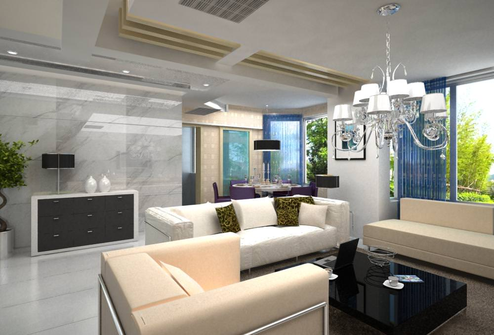 High End Living Room With Eminent Lamp 3D Model MAX