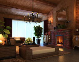 3d model living room with authentic fireplace