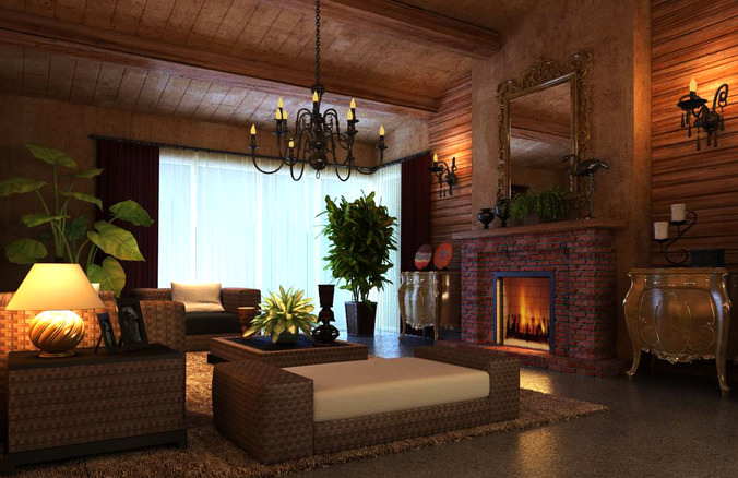 Living Room with Authentic Fireplace3D model