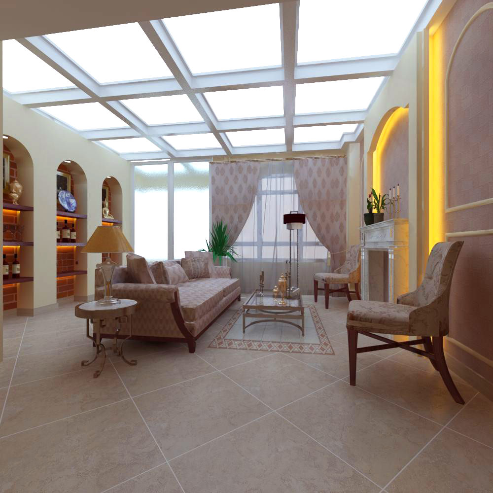 High End Living Room With Skylight 3D Model MAX