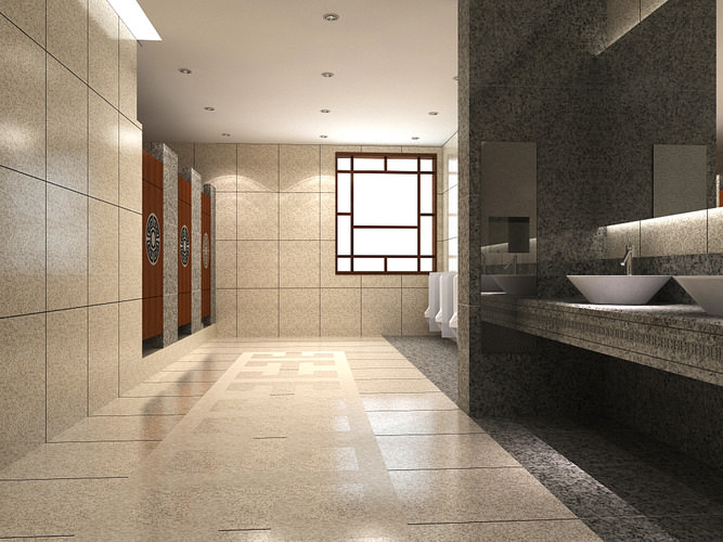 3d model modern bathroom with marble tiles cgtrader for New bathroom models