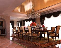 3d model eminent living room with high-end carpet