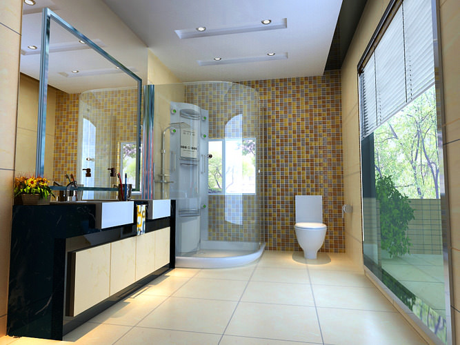 Ritzy Bathroom with Fancy Wall3D model