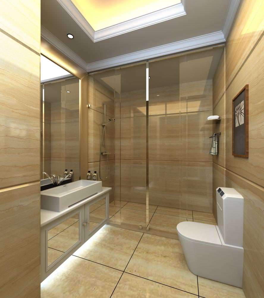Ritzy bathroom with classy decor 3d model max for 3d bathroom decor
