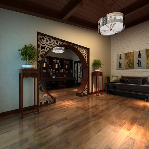 3d living room with florid door frame cgtrader for Room door frame