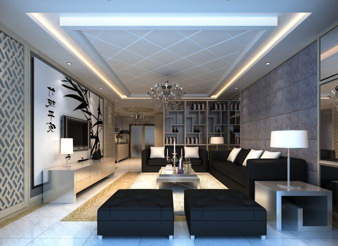 living room with ritzy black sofa 3d model max 1
