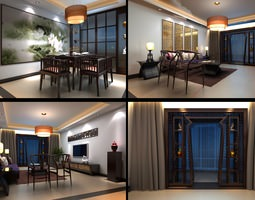 Eminent Living Room with Blue Curtains 3D