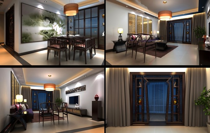 Eminent Living Room with Blue Curtains3D model