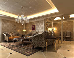3D model Living Room with Crystal Chandelier