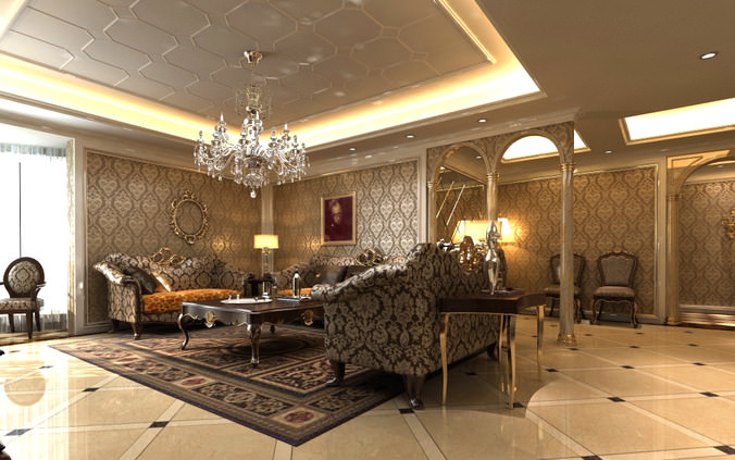 Living Room with Crystal Chandelier3D model