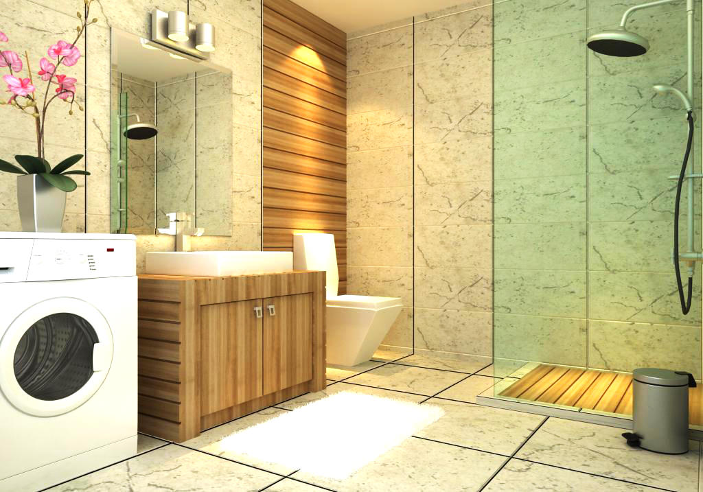 ritzy bathroom interior with washing machine 3d model max. Black Bedroom Furniture Sets. Home Design Ideas