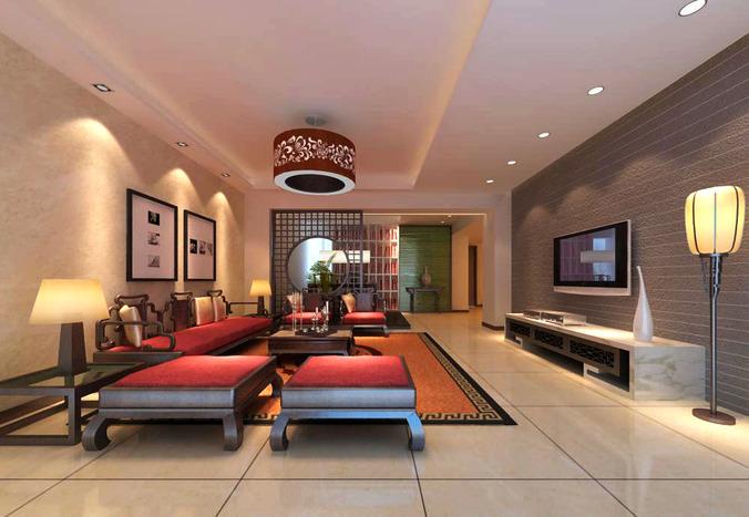 Posh Living Room With Lavish Chandelier 3D Model