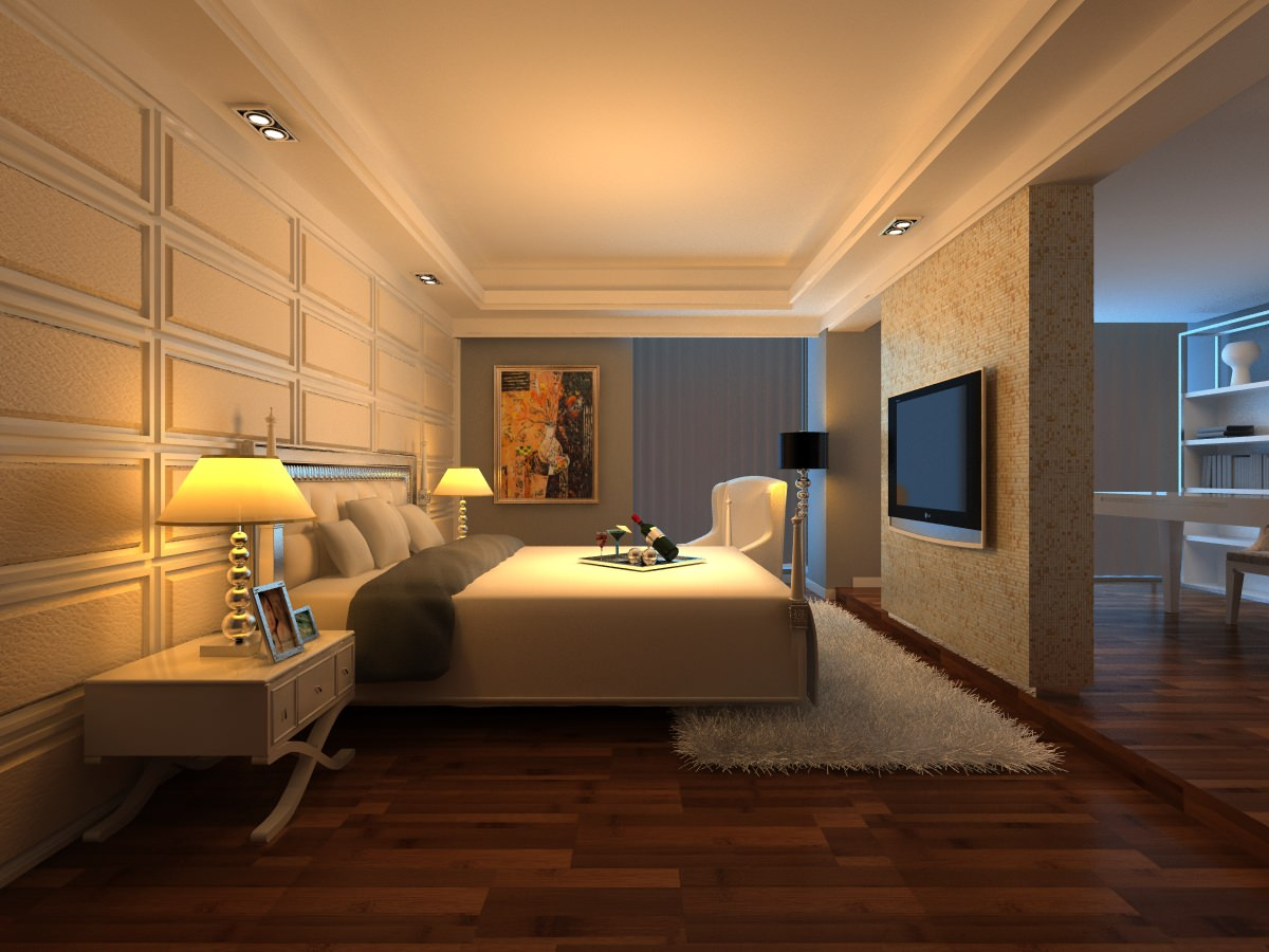 Bedroom With White Fur Rug And Tv 3d Model Max