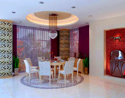3d model dining room with eminent wall decor