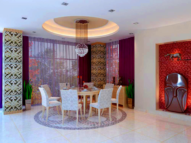 Dining Room with Eminent Wall Decor3D model