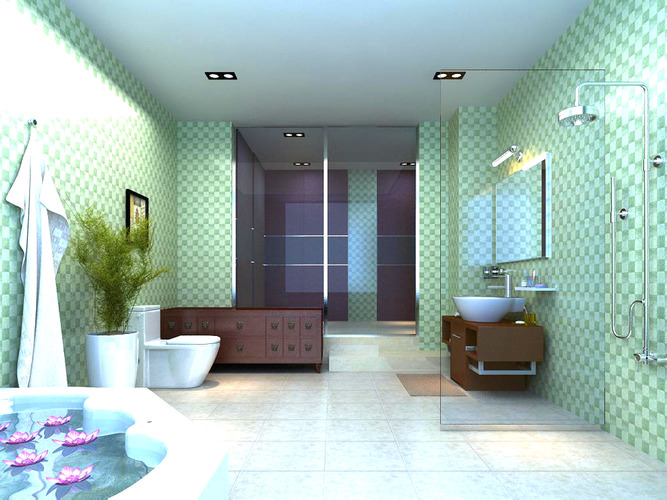 Bathroom with posh interior design 3d model max for Bathroom design 3d model