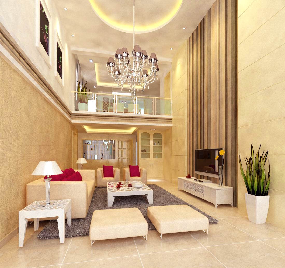 Cozy Luxury Homes Interior Gallery: Cozy Luxurious Living Room With Tv 3D Model .max