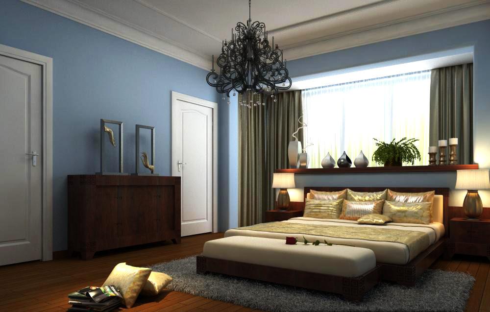authentic bedroom with open window 3d model max 1