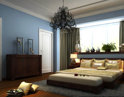 authentic bedroom with open window 3D