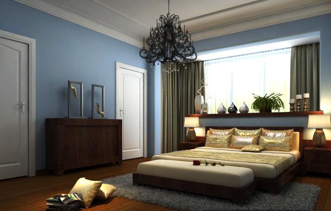 authentic bedroom with open window3D model