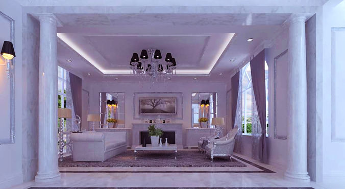 Modern Living Room with Florid Interior3D model