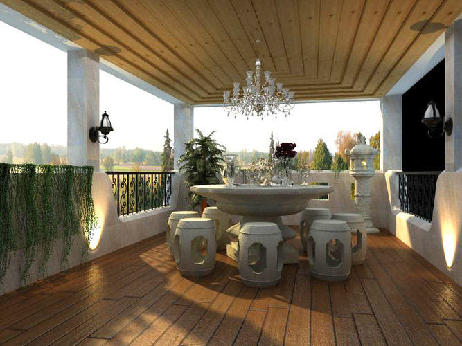 3d home balcony with dining table cgtrader for Balcony models
