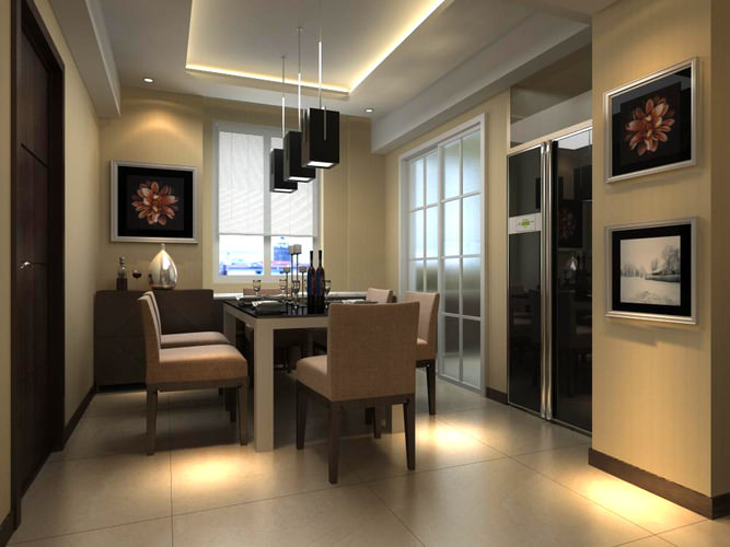 Dining Room with Refrigerator3D model