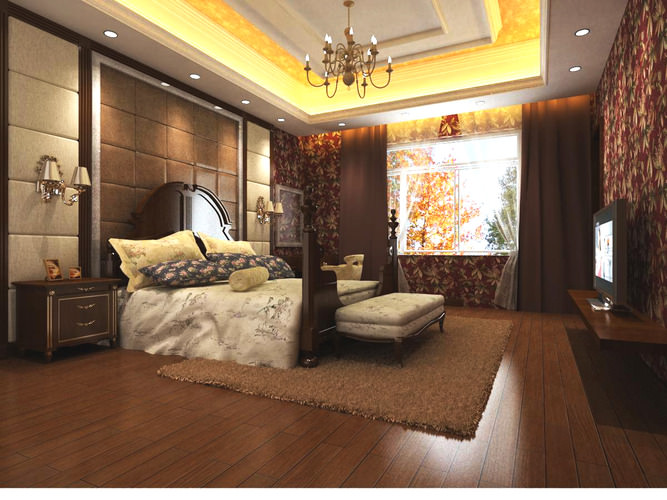 bedroom with exotic floral wall and rug 3d model max 1