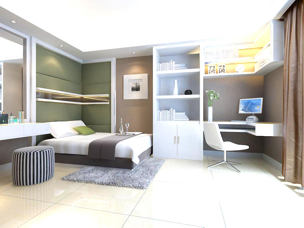 bedroom with computer desk 3d model max
