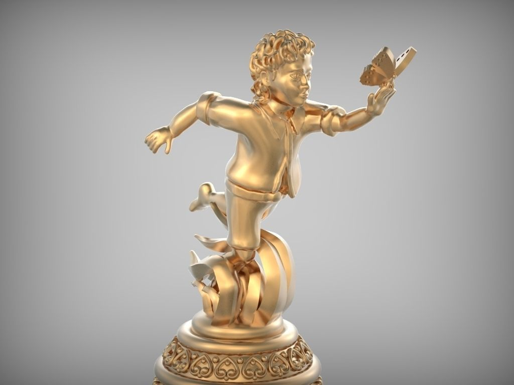 Bell Boy With Butterfly Stl 3d Model 3d Printable Stl