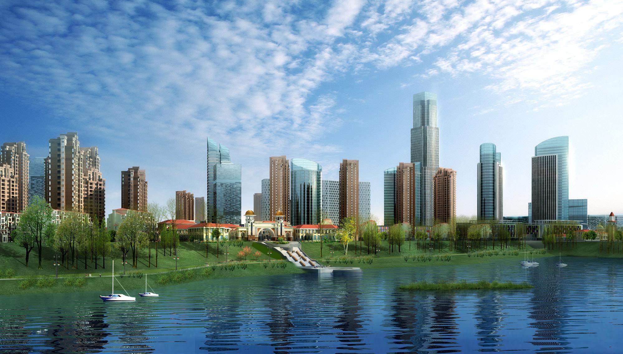 Waterfront City Skyline 513 3d Models 3d Model Max