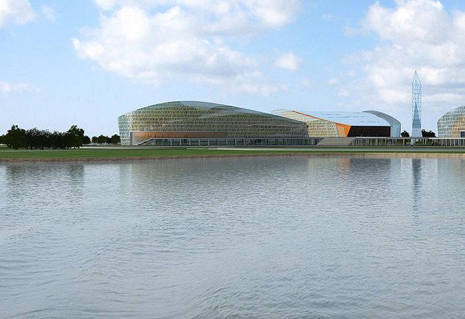 contemporary waterfront building complex 340 3d models 3d model max 1