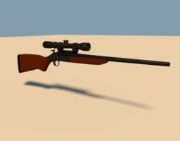 Rigged Rifle 3D Model
