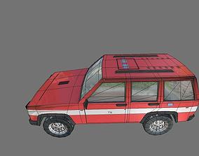 3D asset low poly fire car suv