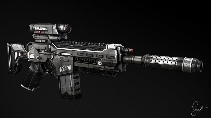 ax-7 assault rifle 3d model max obj mtl 1
