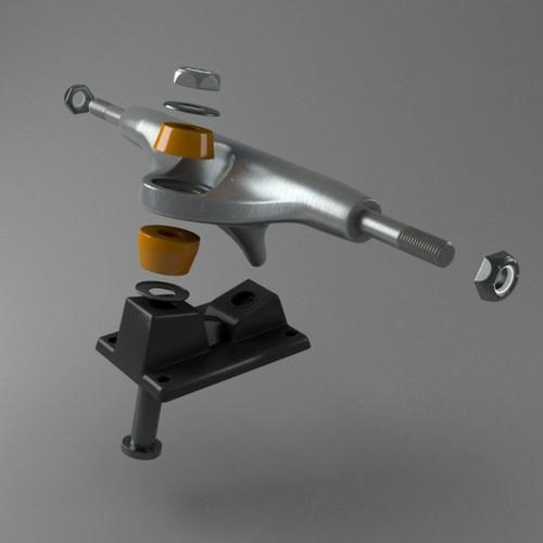 Skateboard truck 3d model max obj fbx c4d ma mb - Skateboard mobel ...