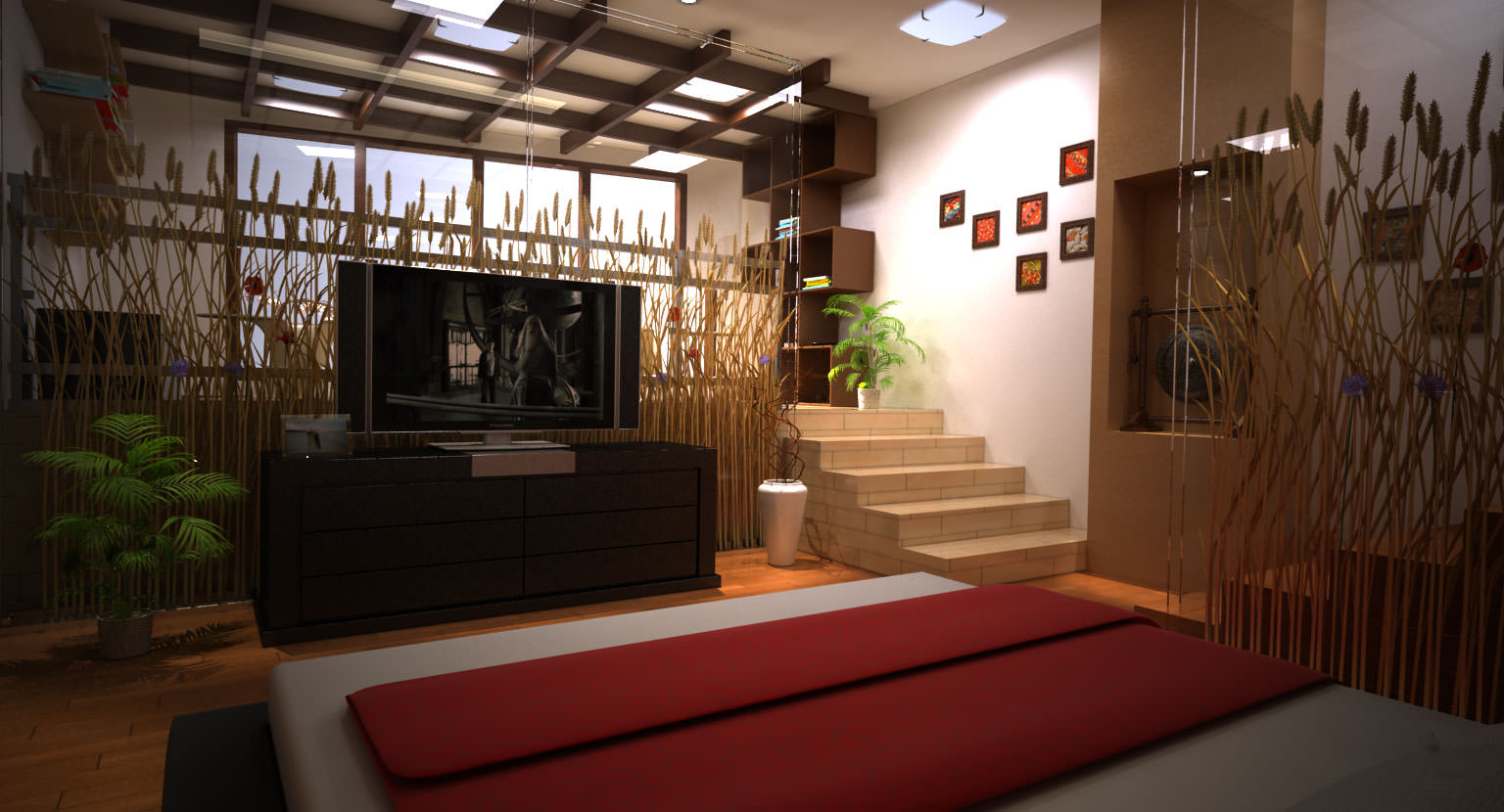 modern japanese bedroom 3d model max cgtrader