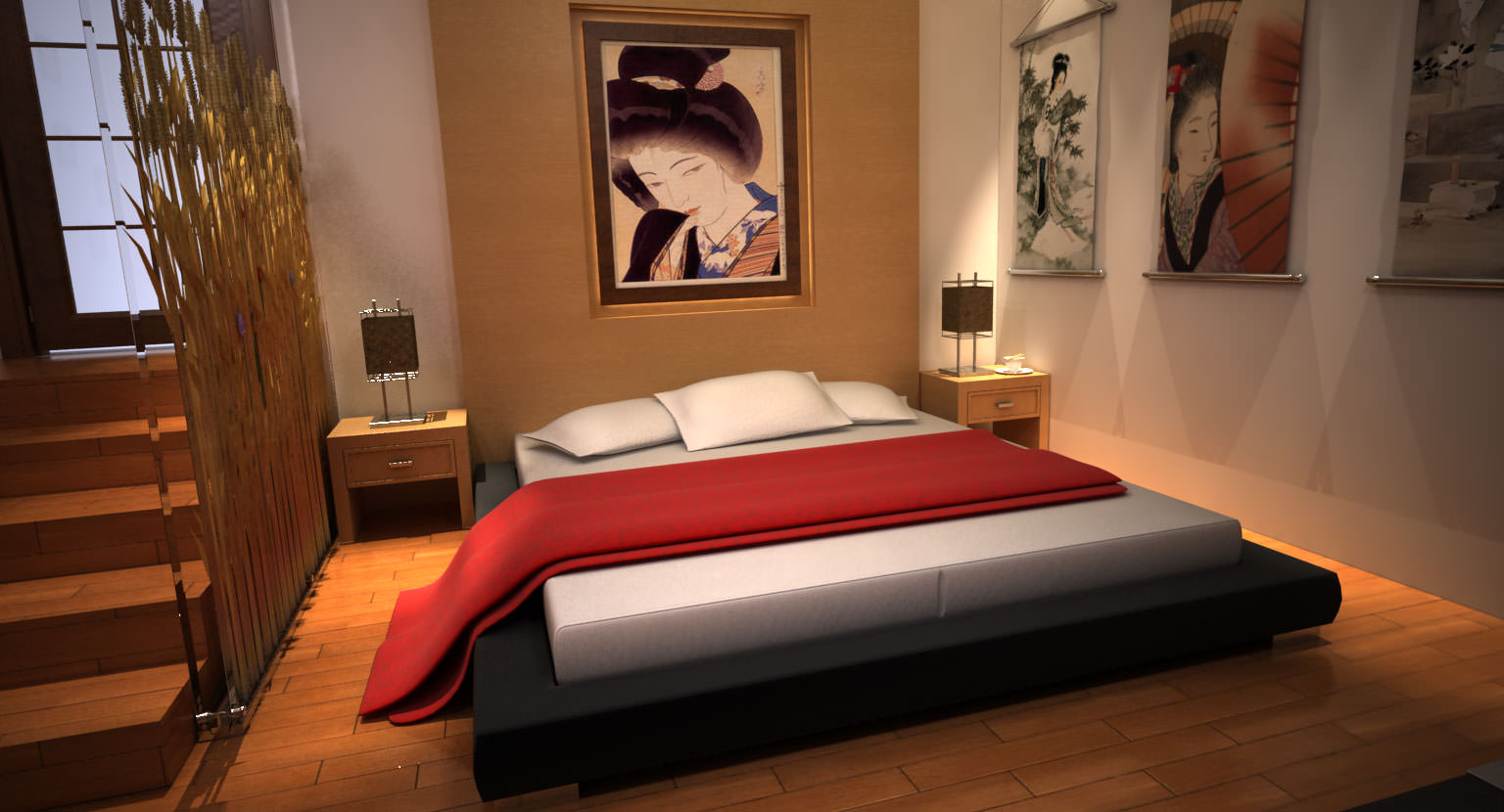 Modern japanese bedroom 3d model max for Japanese bedroom ideas