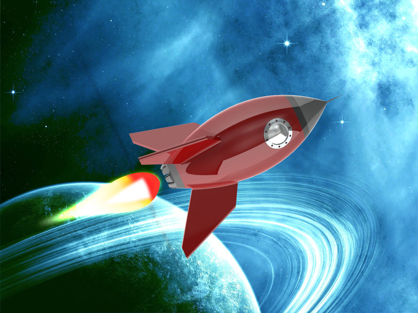 3D Cartoon Rocket Ship
